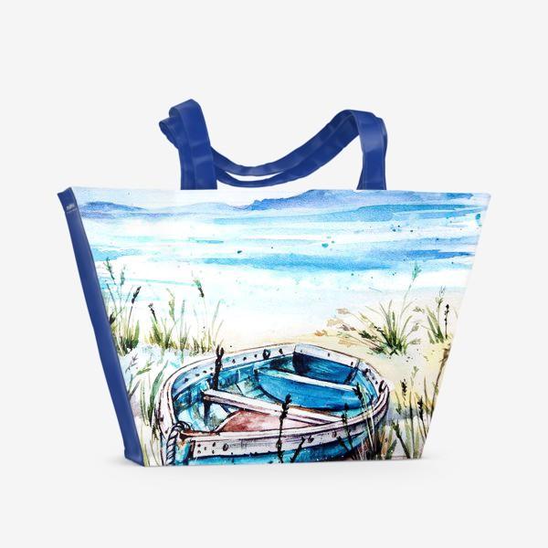 Пляжная сумка «лодка на берегу»