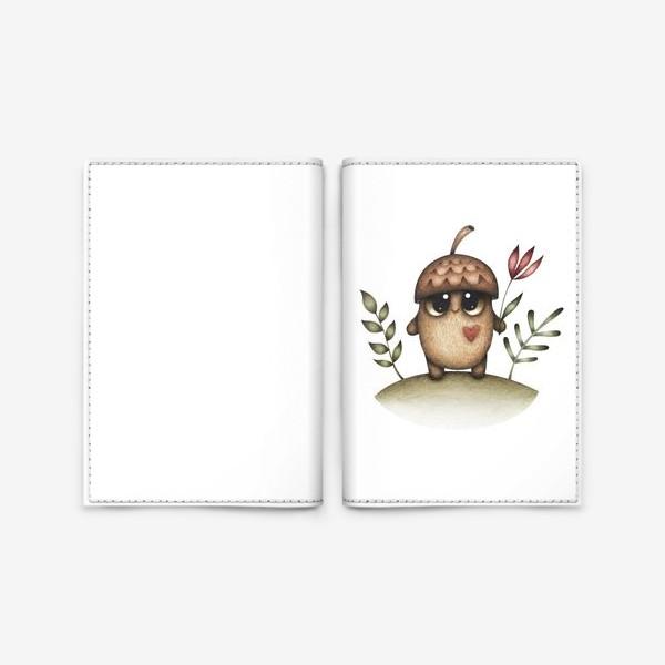 Обложка для паспорта «Милый желудь с сердцем и цветком»