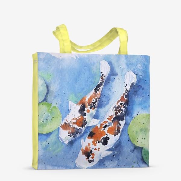 Сумка-шоппер «Рыбки карпы в озере»