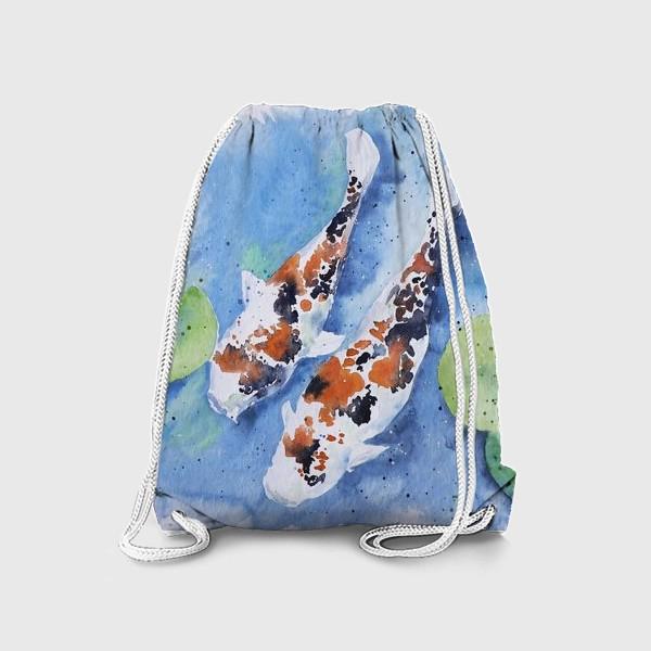 Рюкзак «Рыбки карпы в озере»