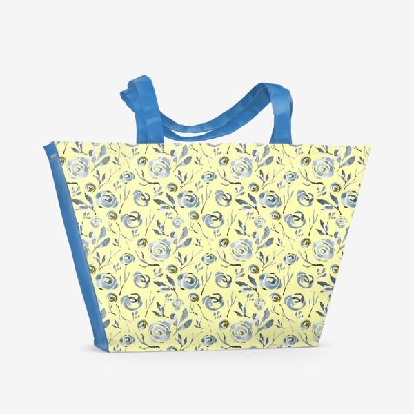 Пляжная сумка «Узор Серые розы.»