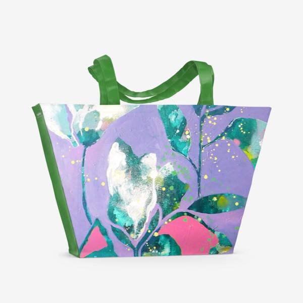 Пляжная сумка «Весенние цветы на сиреневом»