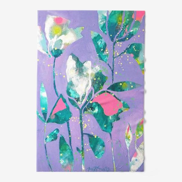 Полотенце «Весенние цветы на сиреневом»