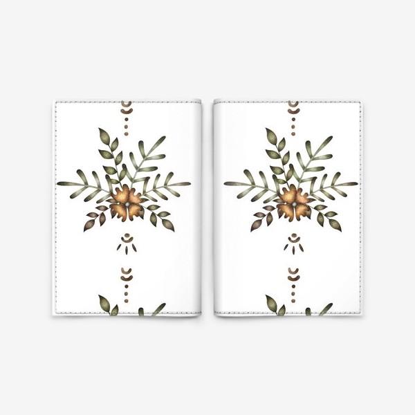 Обложка для паспорта «Паттерн с цветочной композицией и этническими элементами»