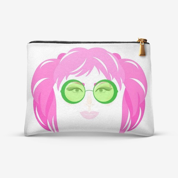 Косметичка «Девушка с розовыми волосами в солнечных очках»