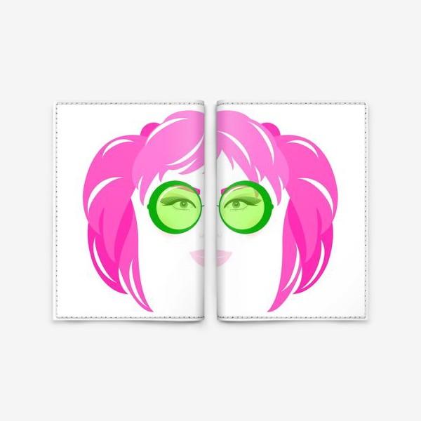 Обложка для паспорта «Девушка с розовыми волосами в солнечных очках»