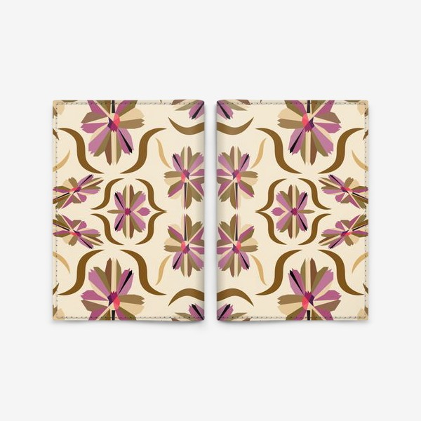 Обложка для паспорта «abstract seamless floral pattern exotic shapes»