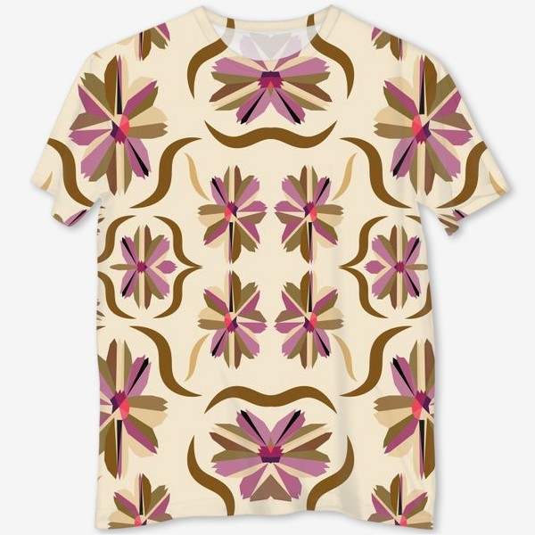 Футболка с полной запечаткой «abstract seamless floral pattern exotic shapes»