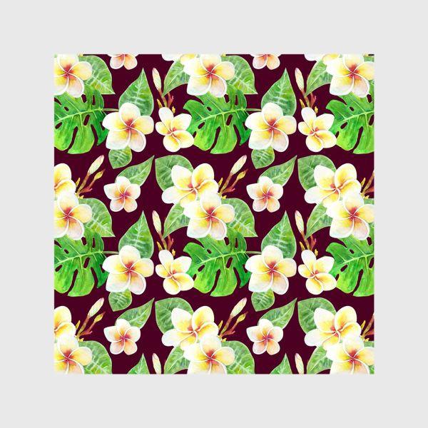 Шторы «Безшовный акварельный паттерн с тропическими цветами т листьями»