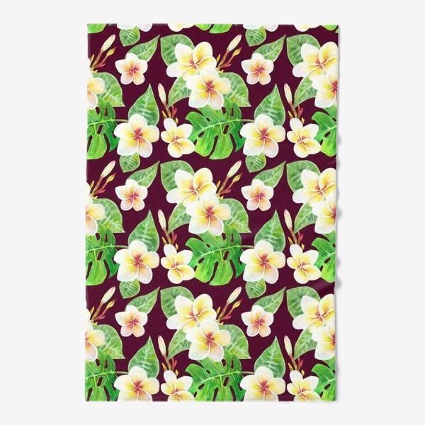 Полотенце «Безшовный акварельный паттерн с тропическими цветами т листьями»