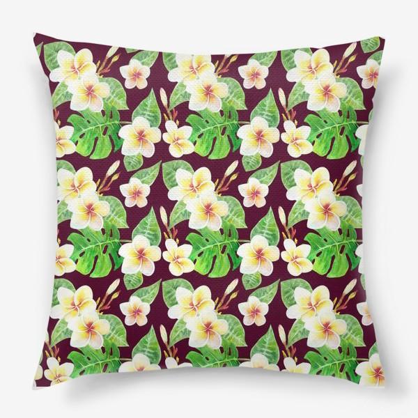 Подушка «Безшовный акварельный паттерн с тропическими цветами т листьями»
