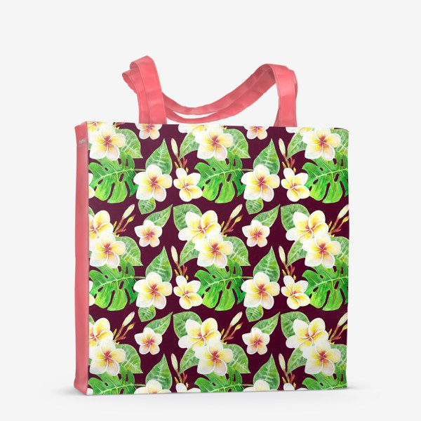 Сумка-шоппер «Безшовный акварельный паттерн с тропическими цветами т листьями»