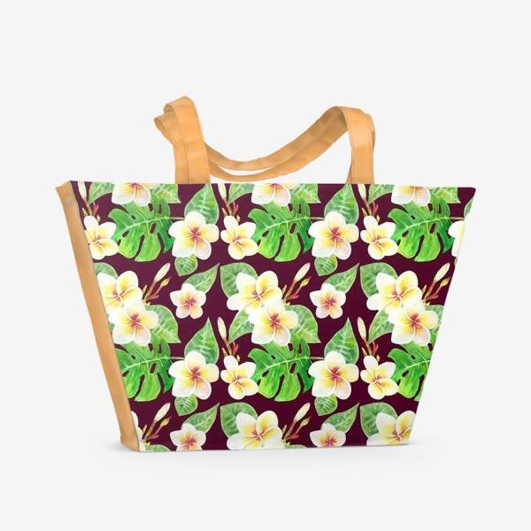 Пляжная сумка «Безшовный акварельный паттерн с тропическими цветами т листьями»