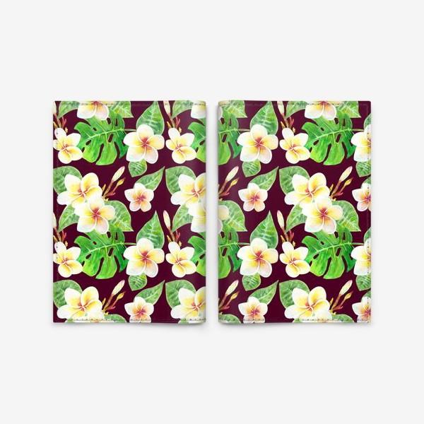Обложка для паспорта «Безшовный акварельный паттерн с тропическими цветами т листьями»