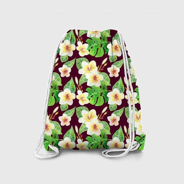 Рюкзак «Безшовный акварельный паттерн с тропическими цветами т листьями»