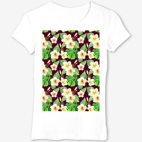 Футболка «Безшовный акварельный паттерн с тропическими цветами т листьями»
