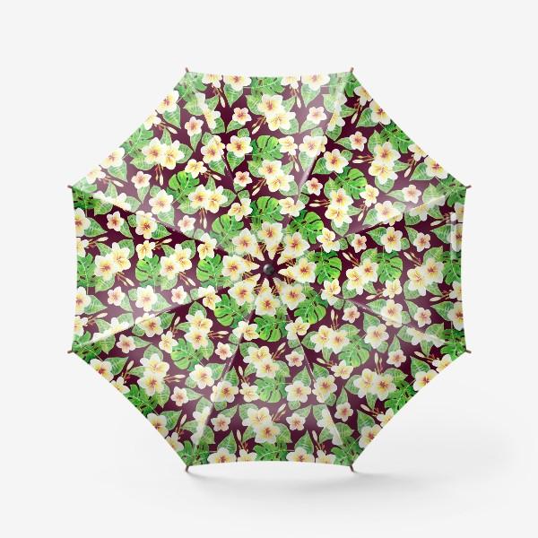Зонт «Безшовный акварельный паттерн с тропическими цветами т листьями»