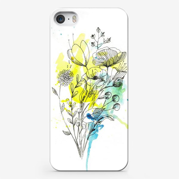 Чехол iPhone «Акварельные пятна с букетом»