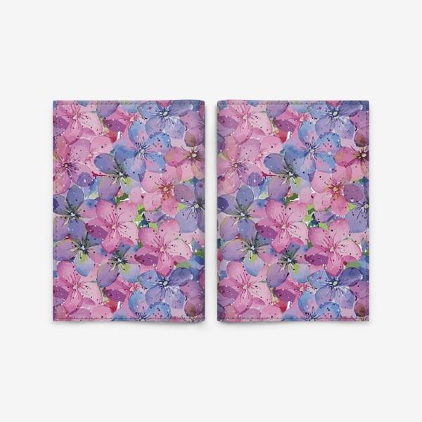Обложка для паспорта «Гортензии розово-голубые»