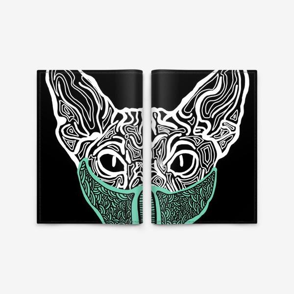 Обложка для паспорта «Кот в маске на чёрном фоне »