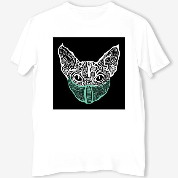 Футболка «Кот в маске на чёрном фоне »