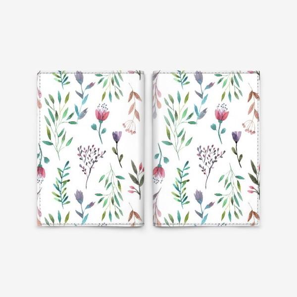 Обложка для паспорта «Цветочный паттерн, ботаника»