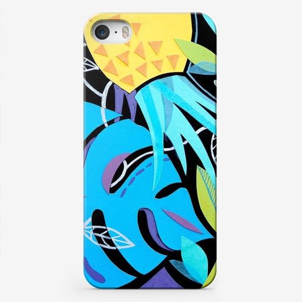 Чехол iPhone «Монстера и ананас на чёрном»