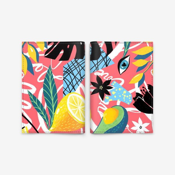 Обложка для паспорта «Фрукты и цветы на розовом»