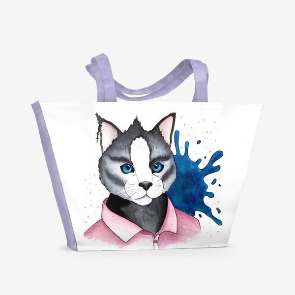 Пляжная сумка «Кот на стиле»