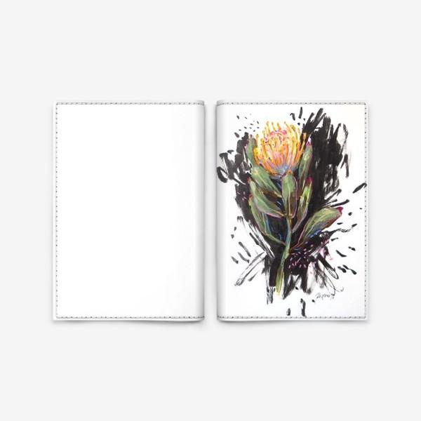 Обложка для паспорта «Графичная протея на чёрном»