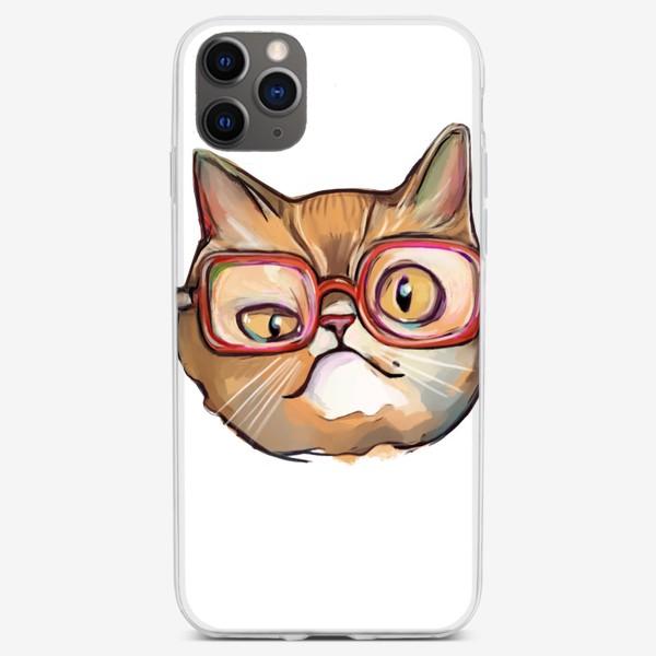 Чехол iPhone «Geek cat. Кот учёный в очках»