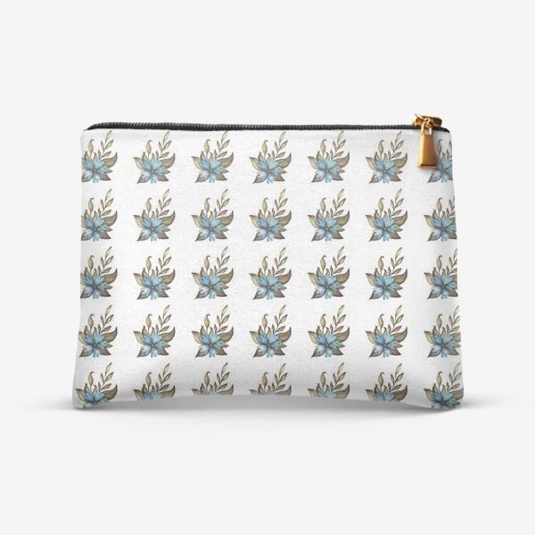 Косметичка «Паттерн с голубыми цветами»