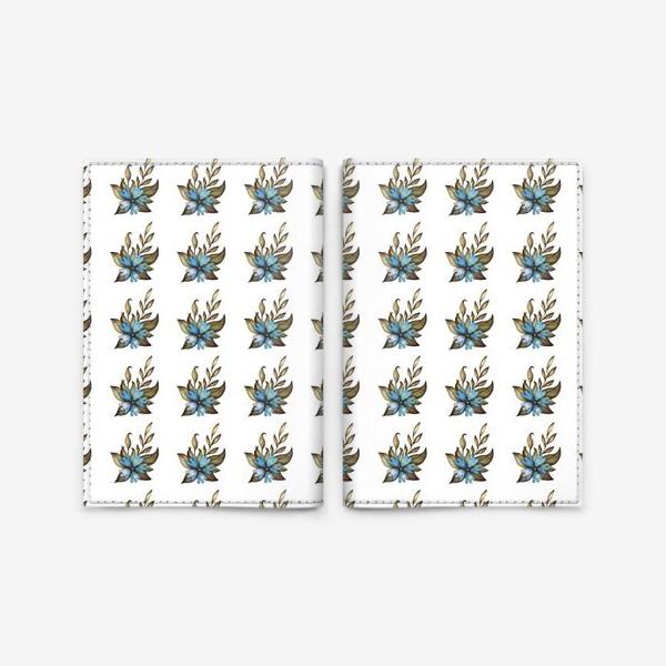 Обложка для паспорта «Паттерн с голубыми цветами»