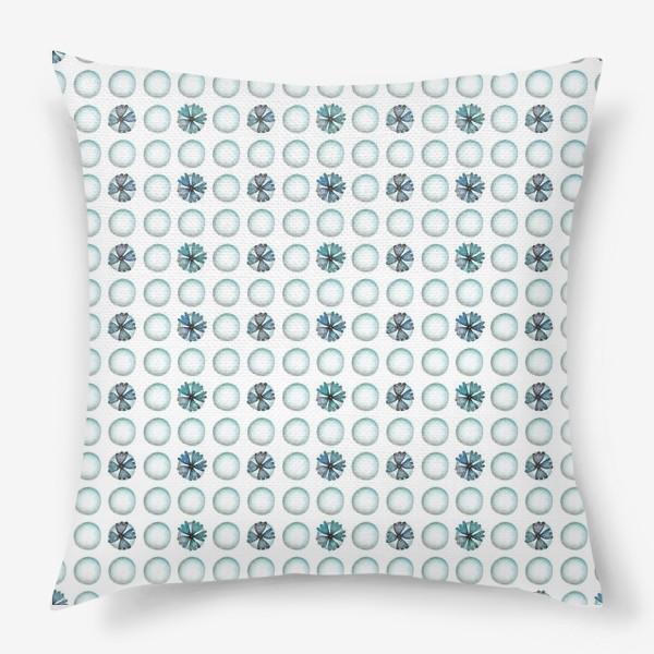 Подушка «Геометрический паттерн в голубых оттенках»