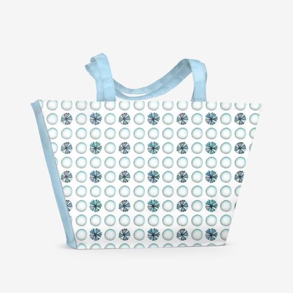 Пляжная сумка «Геометрический паттерн в голубых оттенках»