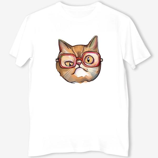 Футболка «Geek cat. Кот учёный в очках»