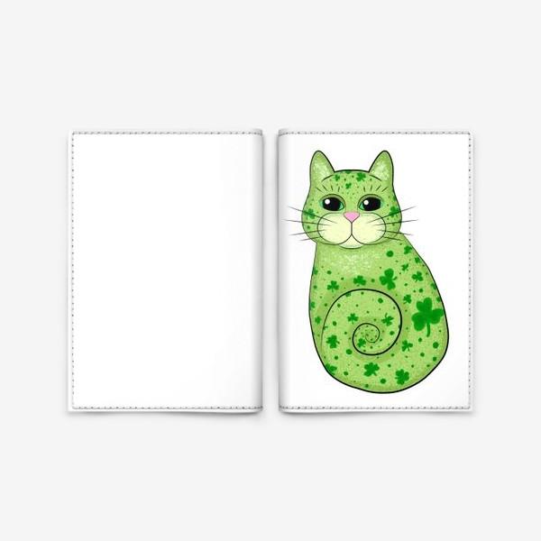 Обложка для паспорта «Зеленый кот в трилистниках. Ирландия»