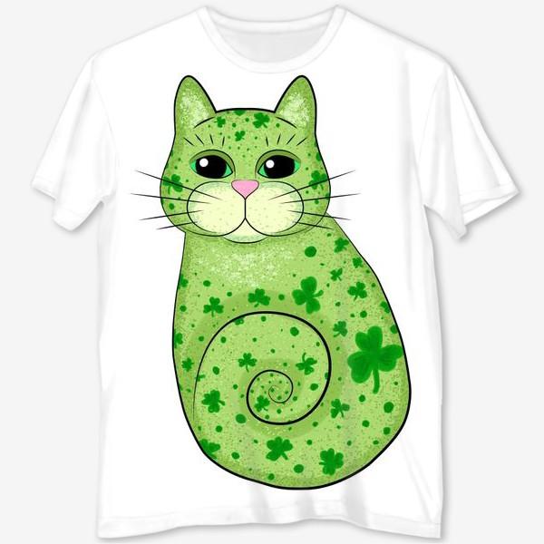 Футболка с полной запечаткой «Зеленый кот в трилистниках. Ирландия»