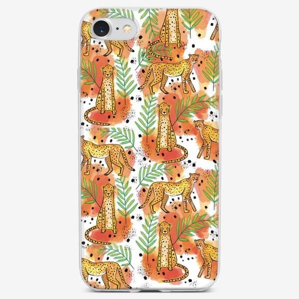 Чехол iPhone «Леопард в тропиках узор»