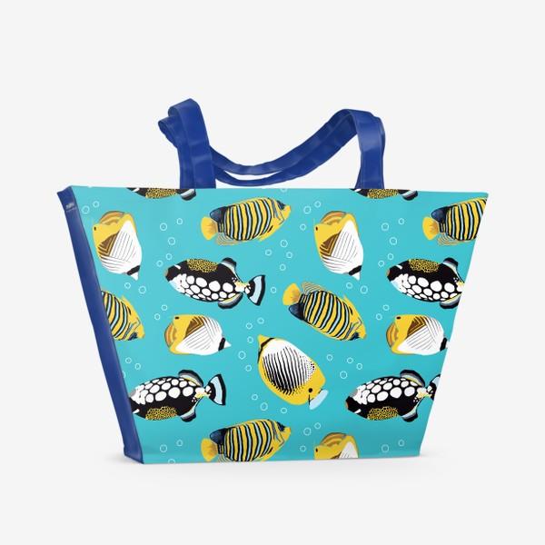 Пляжная сумка «Тропические рыбки в море»