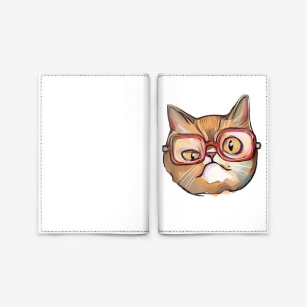 Обложка для паспорта «Geek cat. Кот учёный в очках»