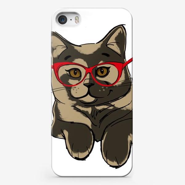 Чехол iPhone «Котейка балдейка в красных очках»
