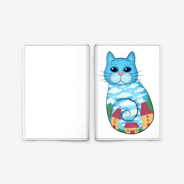 Обложка для паспорта «Кот с городским пейзажем»