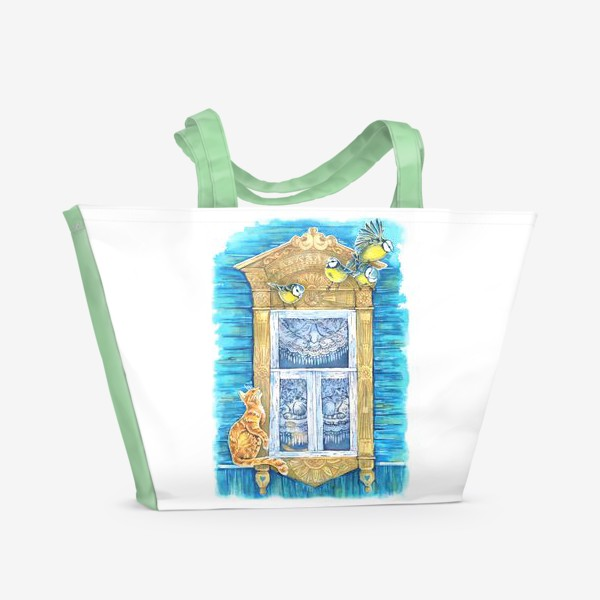Пляжная сумка «Окошко и кошки»