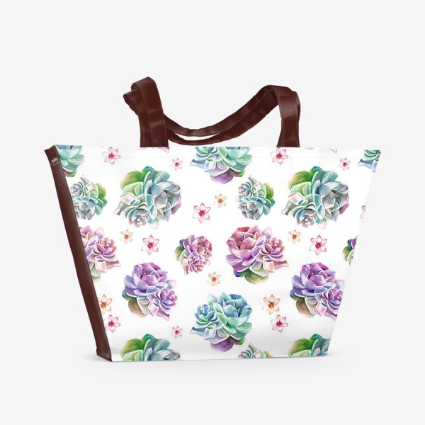 Пляжная сумка «Безшовный акварельный паттерн с кактусами и цветами»