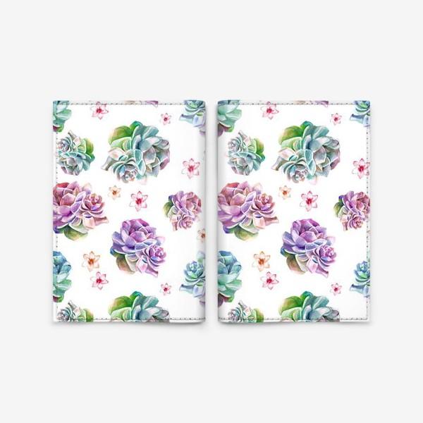 Обложка для паспорта «Безшовный акварельный паттерн с кактусами и цветами»