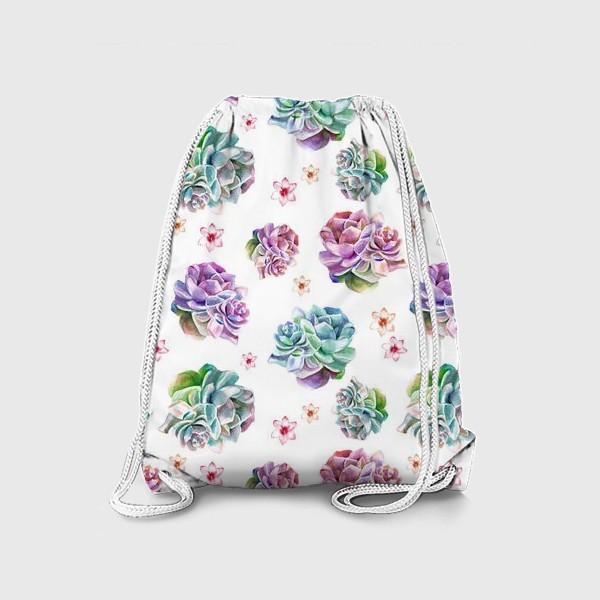 Рюкзак «Безшовный акварельный паттерн с кактусами и цветами»