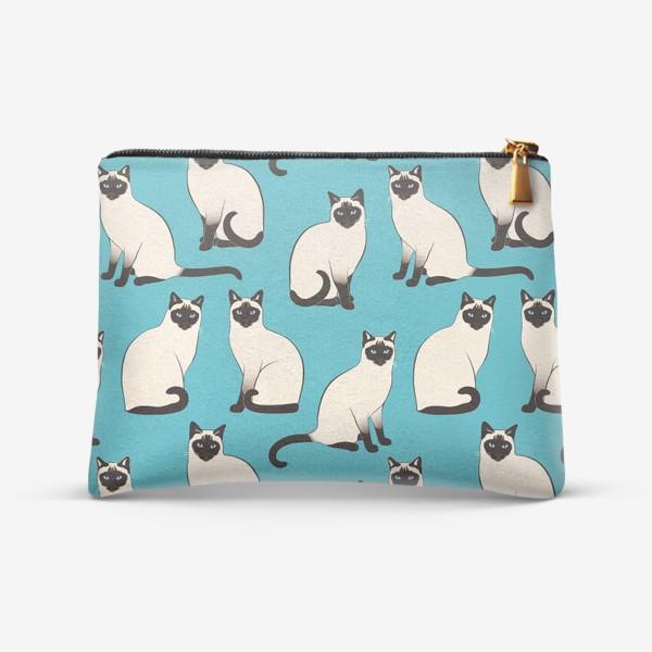 Косметичка «Сиамские Кошки на бирюзовом»