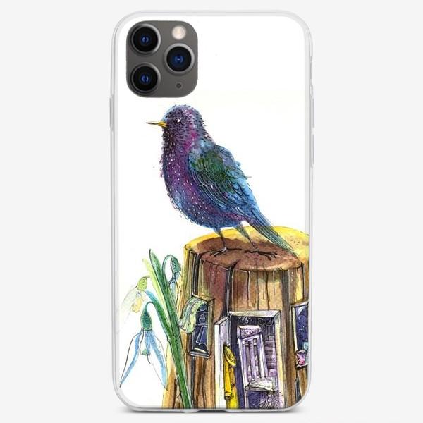 Чехол iPhone «Скворец на пеньке и домик»