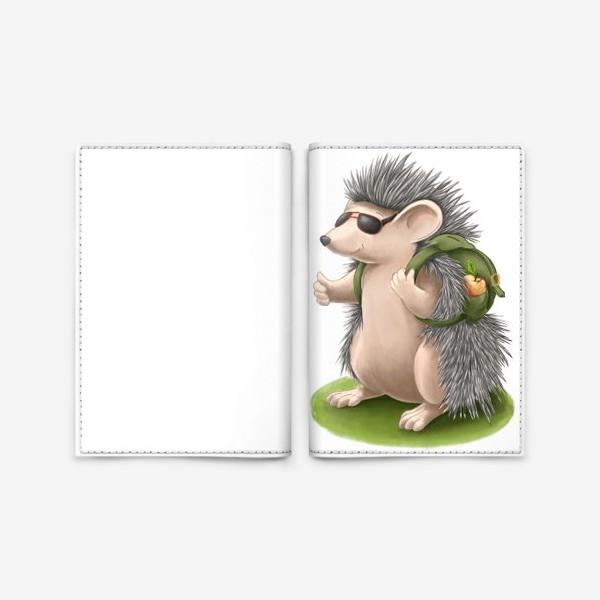 Обложка для паспорта «Ёжик-путешественник»
